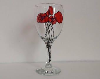 Poppies, handpainted wine glass