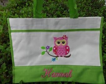 Personalized Kids Tote Bag    BEACH TOTE    OWL Tote Bag    Girls Tote Bag    Pool Bag  Toddler Tote Bag