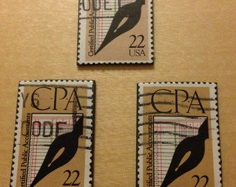 3 CPA - Recycled Postage Stamp Magnets - Certified Public Accountant