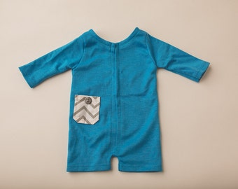 Blue Jersey and Chevron Long Sleever Romper- Newborn Photography Romper Set