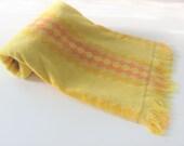 Vintage Bath Towel CONE Orange And Yelllow Diamond Shapes Stripes With Fringe Retro Beach