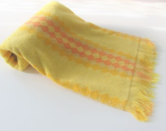 Vintage Bath Towel CONE Orange And Yelllow Diamond Shapes Stripes With Fringe Retro Beach