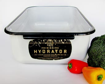 Frigidaire Enamelware Hydrator Vegetable Crisper Refrigerator Bin 1930s Porcelain On Steel