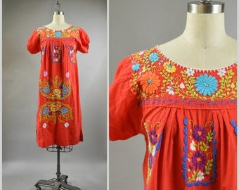 1980s Mexican Dress Embroidered Red Cotton Boho Dress with Rainbow Embroidered Flower Hand Embroidery Size Small