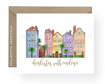 PRINTED - Set of 8 Folded Notecards, Charleston South Carolina Rainbow Row Original Watercolor Stationery by Palmetto Greetings