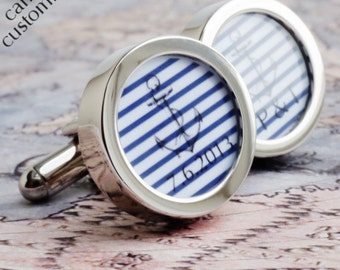 Anchor Cufflinks Striped Personalised Nautical Wedding Cufflinks with Date for Grooms, Groomsmen, Fathers and Custom Weddings PC600
