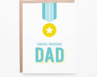 Father's Day Card | Award Winning Dad | Prize Medal Greeting Card | Card for Dad