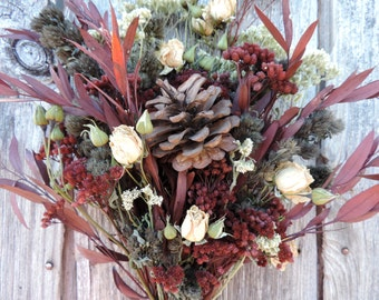 Dried Flower Bouquet Floral Arrangement Christmas Holiday Pine Cone Eucalyptus Yarrow Burgunday Decoration White Rose Spray