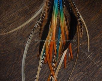 Feather Earrings Silver Orange Turquoise Tropical Dyed & Natural Feathers This Pair Jewelry / Dangle Earrings