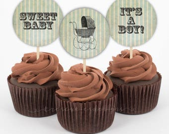 Baby Shower Cupcake Toppers - Vintage Baby Stroller - 2inches - Printable