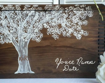 Personalized Wedding Gift, Rustic Wedding Card, Keepsake Box, Hand Painted and Engraved,  5th Anniversary, Wedding Gift