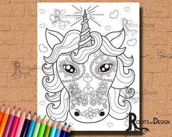 INSTANT DOWNLOAD Unicorn Sugar Skull Coloring Coloring Page Print, doodle art, printable