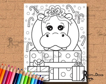 INSTANT DOWNLOAD Cute Christmas Hippo Page Print Doodle Art Printable