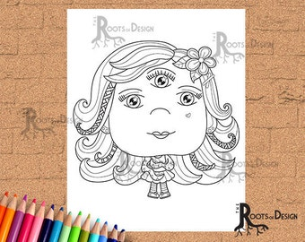 INSTANT DOWNLOAD Coloring Page Three Eye Monster Girl coloring, doodle art, printable