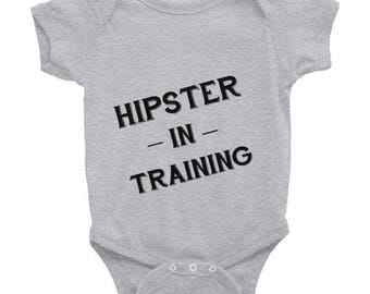 """Funny Baby Onesie """"Hipster in Training"""" Cute available in multiple colors. Grey white pink bodysuit graphic quote black unique"""