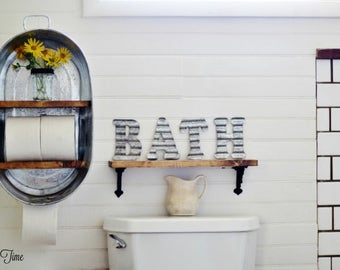 Washtub Bucket Upcycled Hanging Wall Shelf Cupboard Towel Rack. Great for a Bathroom or Kitchen. Home Decor.