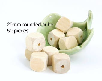 Wooden Rounded Cube Beads - large (3/4 inch ) square beads - 50 pieces