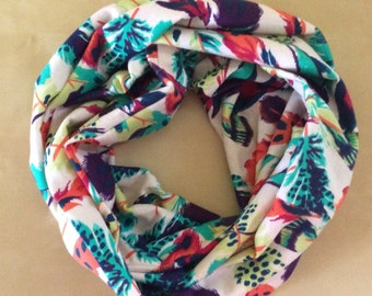 Jersey kniy infinity scarf - multi colored feathers - green, pink, purple  orange, yellow