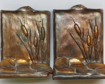 Vintage McClelland Barclay Lilypad and Cattails Book Ends by Dodge Inc. - Bronze Book Ends