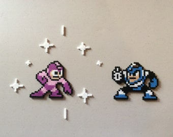 Mega Man wins the Timestopper from Flash Man - Megaman 2 pixel art/bead sprites