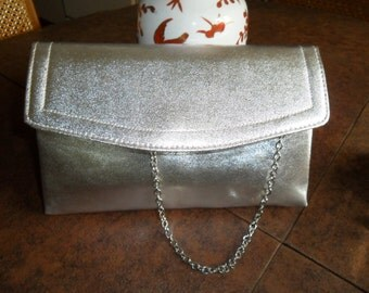 Vintage Clutch Evening Bag in Silver