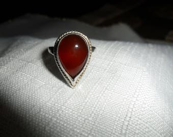 Vintage Carnelian Sterling Silver Ring Size 6