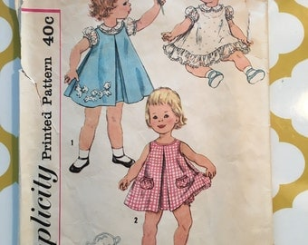RARE 1950s Simplicity Sewing Pattern 3056 Toddler Girls Pleat Front Dress Jumper, &  Bloomers Size 1 cut-toddlers summer dress pattern