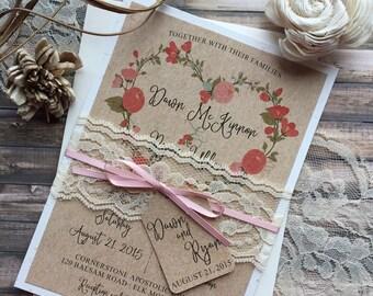 Rustic Wedding Invitation, Elegant Wedding Invitation, Lace Wedding Invitations, Vintage Wedding Invitation, Country Wedding Invitations