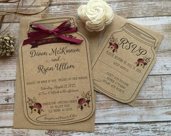 Rustic Wedding Invitation, Mason Jar Wedding Invitation, Shabby Chic Wedding Invitation, Barn Wedding Invitation, Country Wedding