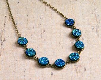 blue druzy necklace, faux druzy, statement necklace, druzy jewelry, sparkle jewelry, gift for her