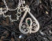 Reserved for Gaynor Handcrafted sterling silver piecework filigree and faceted green tourmaline pendant