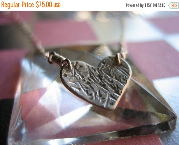 SALE Silvery Heart Sterling Silver Necklace