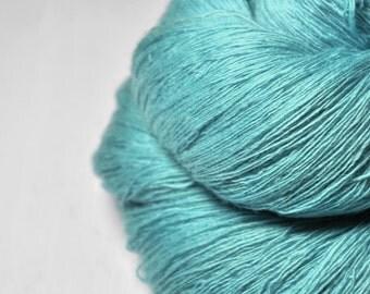 Pestled aquamarine OOAK - Merino/Cashmere Fine Lace Yarn