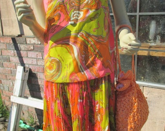 1960s bright swirling colors, drop waist, scooter dress