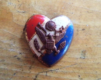 WWII Sweetheart Pin Red White Blue Heart Pin with American Eagle Emblem