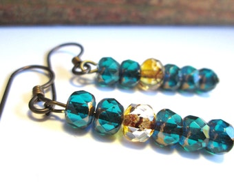 Teal Gold and Copper Czech Glass Earrings, Boho Chic Gypsy Look with Hypoallergenic Niobium Earwires
