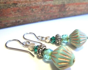 Turquoise and Teal Silver Czech Glass Earrings, Boho Chic Gypsy Look with Silver Hypoallergenic Niobium Earwires