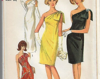 Vintage Sewing Pattern Simplicity 6263 70s One Shoulder Dress Two Lengths Size 10 Bust 31