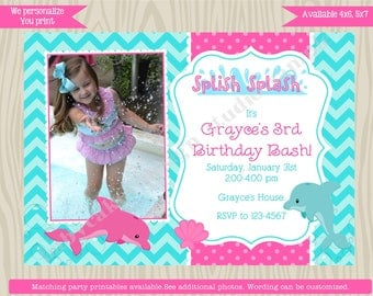 Dolphin Birthday Party Invitation Invite Pool Party girl, swimming, summer, pink aqua turquoise, chevron photo picture printable DIY digital