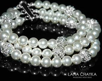 White Pearl Cuff Bridal Bracelet Swarovski Pearl Silver Bracelet Wedding Pearl Bracelet Bridal Pearl Jewelry Three Strand Pearl Bracelet