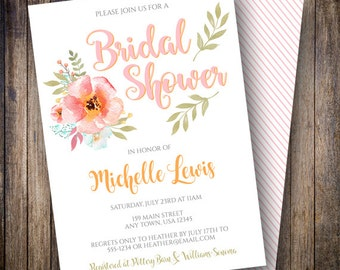 Boho Watercolor Floral Bridal Shower Invite, Printable Floral Bridal Shower Invitation, Watercolor Bridal Shower in Pink, Orange, Green