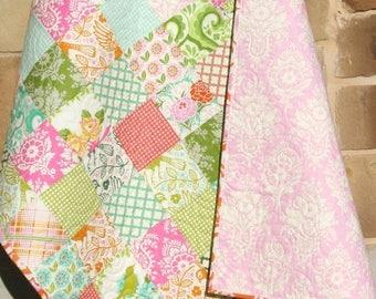 Baby Quilt, Girl Patchwork Pink Aqua Blue, Blanket, Nursery Decor, Crib Cot Bedding, Flowers Birds, Handmade Shower Gift, Green Orange