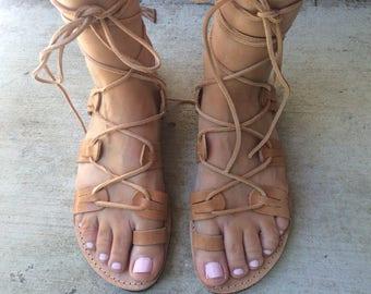 Leather gladiators, lace up sandals, natural! Sandales à lacets, sandales gladiateurs