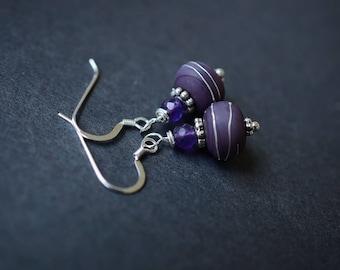 Amethyst Earrings, Sterling Silver Amethyst Earring Dangles, Purple Earrings, Lampwork Earrings