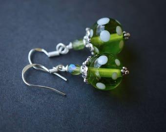 Green Polka Dot Artisan Lampwork Earrings, Sterling Silver Earrings, Green & White Earrings, Czech Earrings