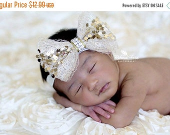 10% off Baby headband, newborn headband, adult headband, child headband and photography prop The single sprinkled-Holiday sequin headband