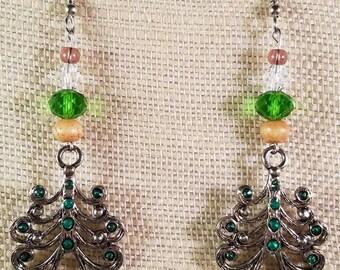 Green Jewelled Christmas Tree Earrings