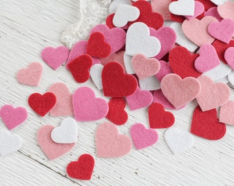 Felt Heart Stickers - Adorable Pink, Red, and White Die Cut Adhesive Felt Valentine's Day Hearts - 100 Pcs.