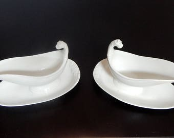 Pair Antique French Porcelain Sauce Boats  in White Graceful and Elegant w Dragon Heads