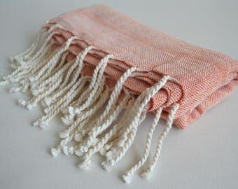 SALE 50 OFF / Turkish Beach Bath Towel / Linen - Cotton / Terracotta